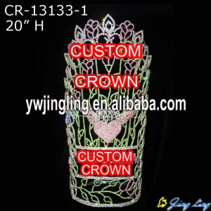20 Inch Pageant Crown Angel Wing Shape CR-13133-1