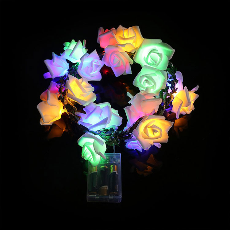 rose flower pvc led 12v string light