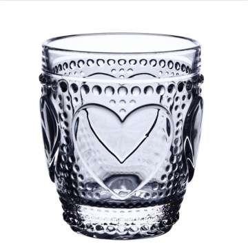 Valentine heart pattern glass cup