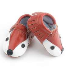 Cute Cartoon Fox Wholesale Leather Christmas Baby Moccasins