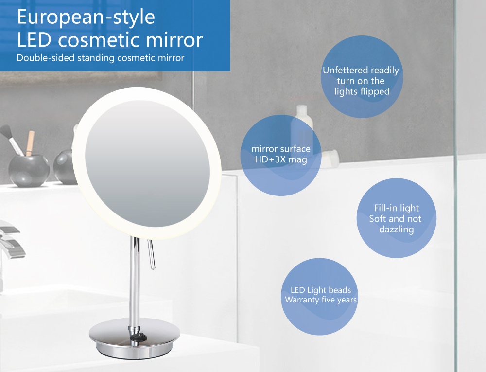 bathroom mirror with lighted