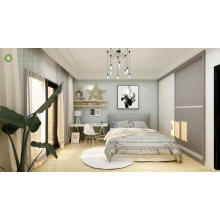 Pinahusay na Queen Bed na may Customized Sliding Wardrobe