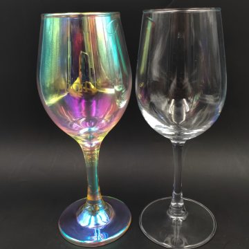 Mouth blown hologram finish cheap price wine glass
