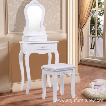 White Vanity Jewelry Makeup Dressing Table Set bathroom with Stool Drawer Mirror Wood Desk b
