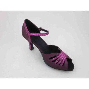 Ladies purple satin salsa shoes