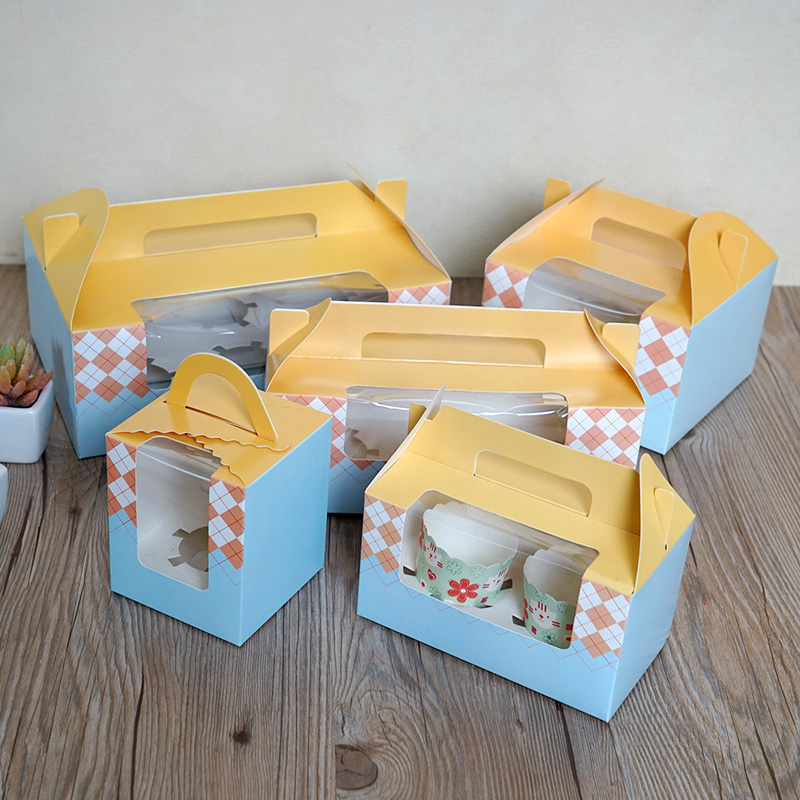Colored cupcake bakery boxes with handle