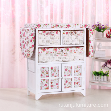 Rustic Wicker Drawer wood Folding cabinet With Ironing Board