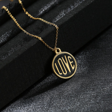 Custom Stainless Steel Gold Love Word Necklace