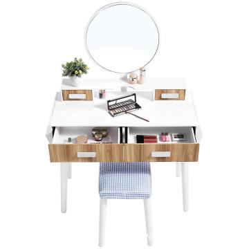2019 New Design Girls bedroom furniture Dressing makeup Table Desk with Stool and Mirror