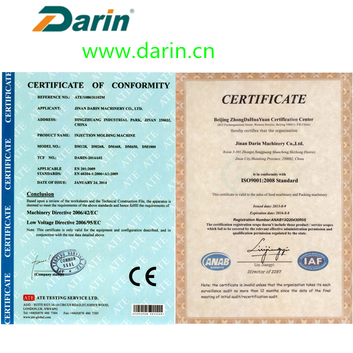 certificate of treat molding machine