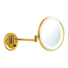 PVD gold lighted extending wall mirror