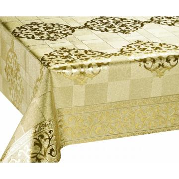 Silver Gold Emboss with Fabric Backing Tablecloth