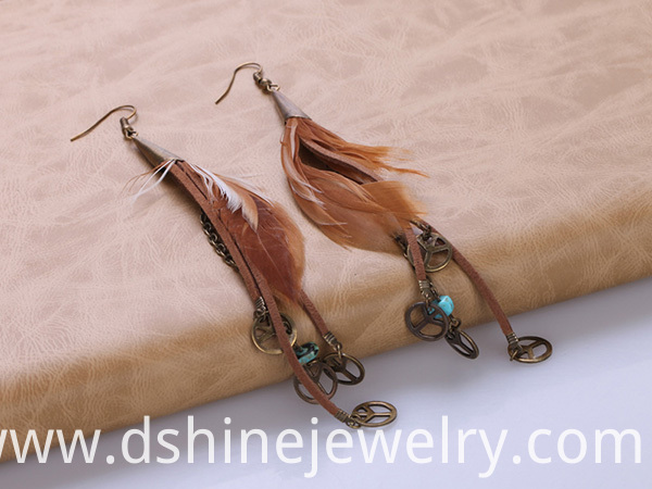 Peace Charm Long Feather Earrings