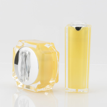Korean multi-corner yellow acrylic cream bottle