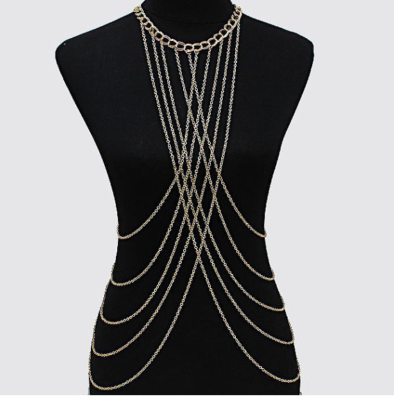 Cross Harness Body Chain Necklace