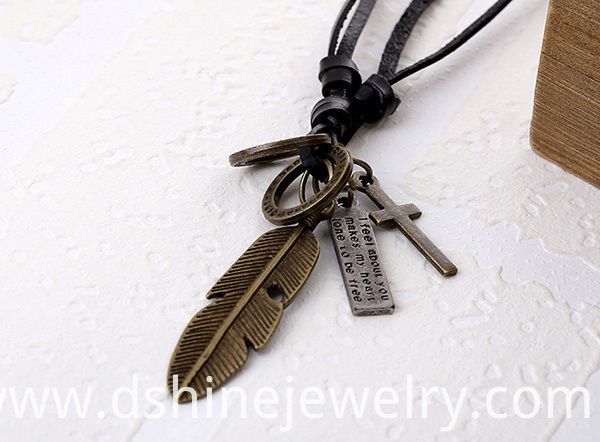 Angel Feather Pendant Men Leather Necklace