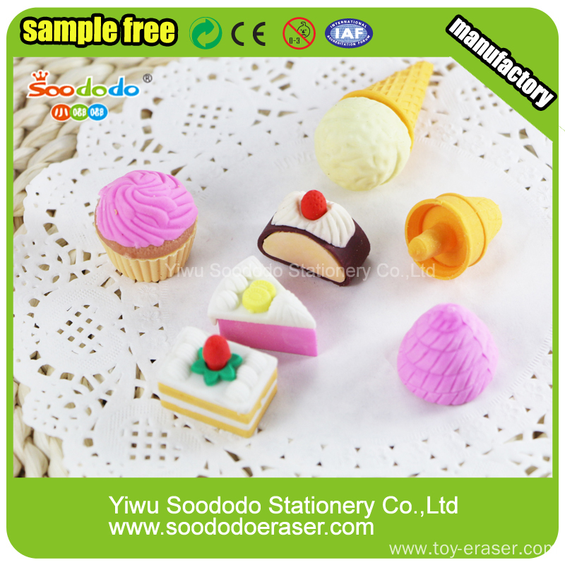 Novelty Cake and Ice-cream Shaped Erasers For Promotional