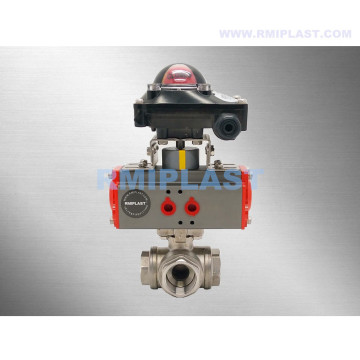 Pneumatic Three Way Ball Valve SS304 Double Acting