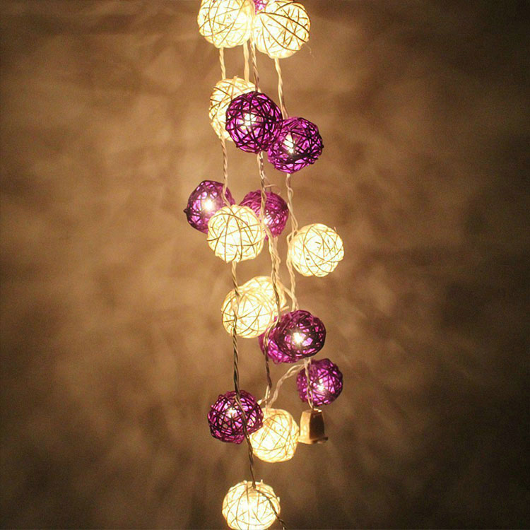 rattan ball indoor led string light
