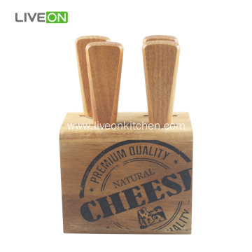 Cheese Knife Set With Acacia Wood Block