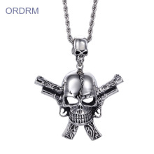 Large Gun And Skull Pendant Necklace For Guys