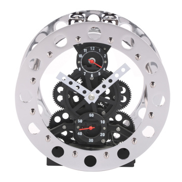 Metal Alarm Gear Clock Black