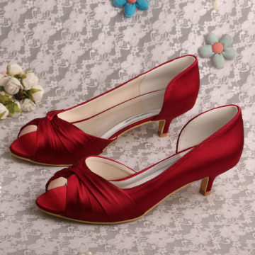 Low Heel Red Satin Shoes Open Toe