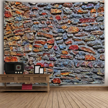 Brick Wall Tapestry Colorfully Stone Tapestry Wall Hanging Vintage Tapestry Polyester Print for Livingroom Bedroom Home Dorm Dec