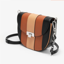 Mixed color stitching metal chain saddle bag