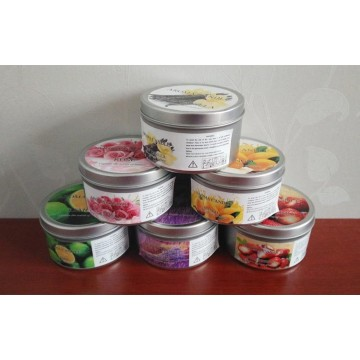 scented soy private label candles in tin container