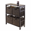 Espresso 5-Piece Wooden Storage Shelf Cabinet with 4-Foldable Baskets 5-Piece Storage Shelf with 4-Foldable Baskets, Espresso