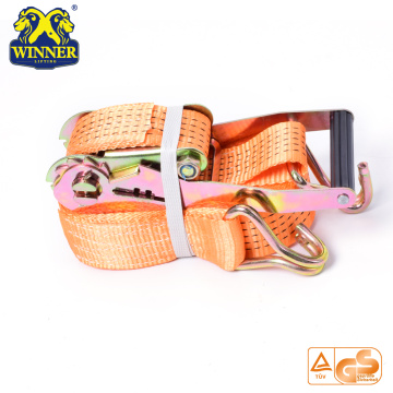 Orange Ratchet Tie Down Straps And Cargo Lashing Belt With Hooks