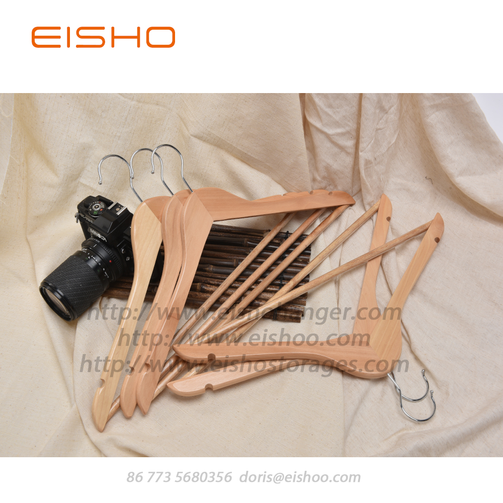 EISHO Wood Suit Hanger With Trouser Bar