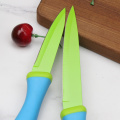Blue handle non stick kitchen knife set