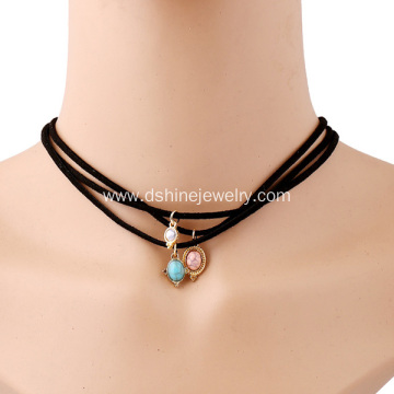 Natural Stone Pendant Multi Layered Velvet Collar Choker
