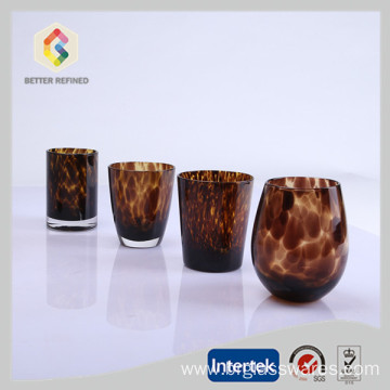 Free sample for Glass Double Wall Tumbler hot sale crystal wine glasses with leopard print export to Russian Federation Manufacturer