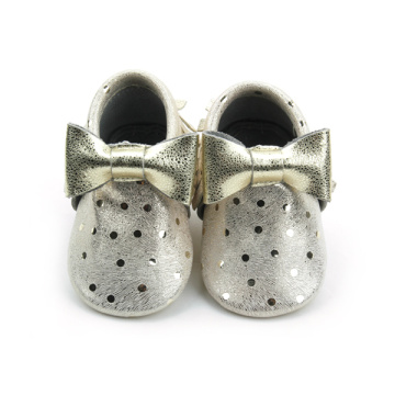Fashion New Styles Gold Bow Baby Girls Moccasins