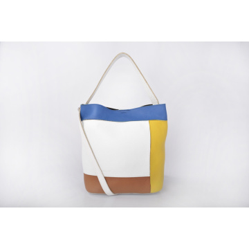 Handmade Multi-color Women Leather Bucket Handbag With Purse