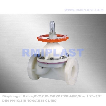 PVDF Diaphragm Valve Flange End ANSI CL150