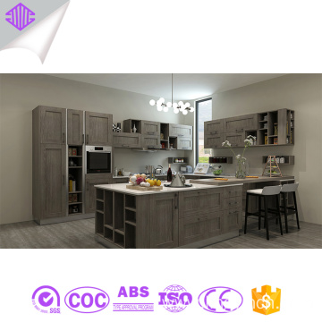 grey shaker solid wood modular kitchen cabine
