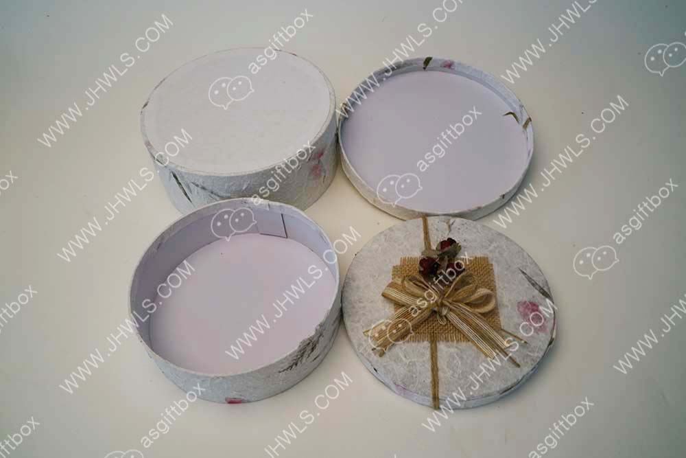 Printed Ribbon Flower Decoration Gift Box