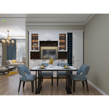 Wooden Rectangular Dining Room Marbel Top