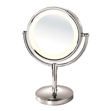 Framed magnifying makeup mirror with lights