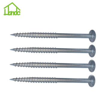 Ground screw with round flange