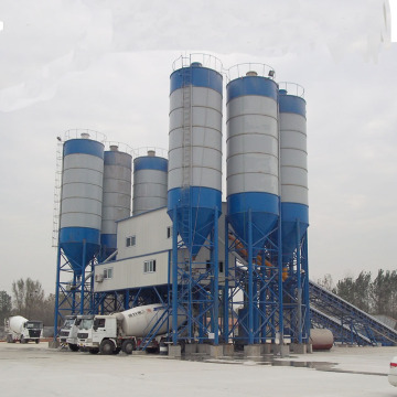 HZS180 advanced belt conveyor mini concrete batching plant