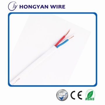2-core stranded copper flat wire, white pvc sheath pvc insulated flat building wire