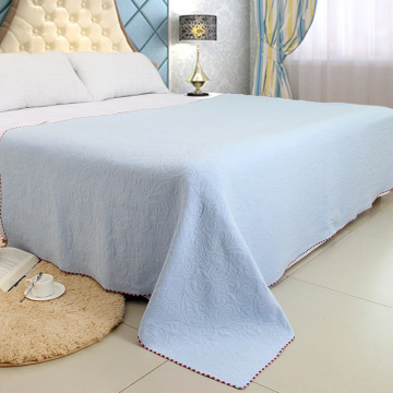 High End Jacquard Flower Pattern Blue Blanket