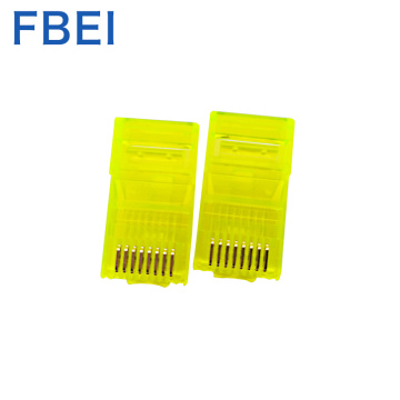 Conectores de color amarillo Rj45 Cat