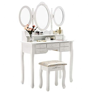 White Trifold Mirrors Makeup Vanity Table Set 7 Drawers Dressing Table