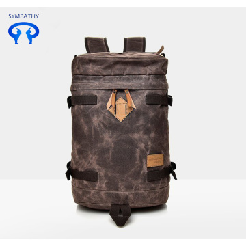 2018 new personality paraffin waterproof canvas schoolbag